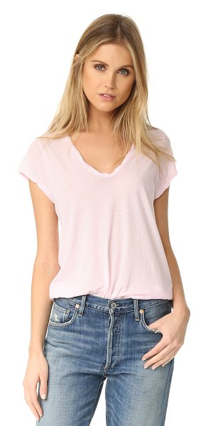 JAMES PERSE high gauge jersey deep v tee in oxford pink - Twisted banding trims the scoop neckline and edges of...