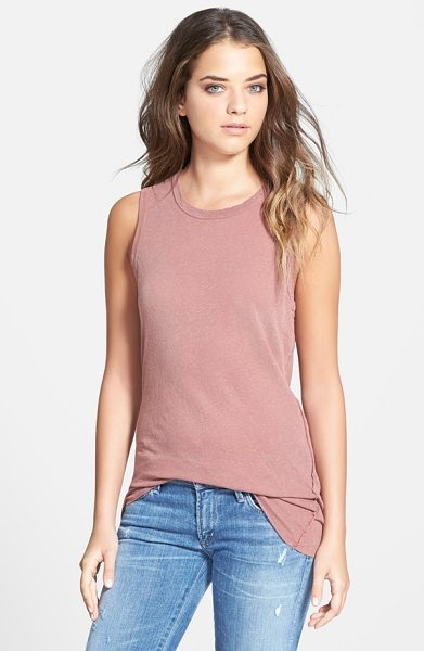 James Perse inside out long tank in ophelia pink - A blend of linen and cotton jersey is slub-knit and dyed...
