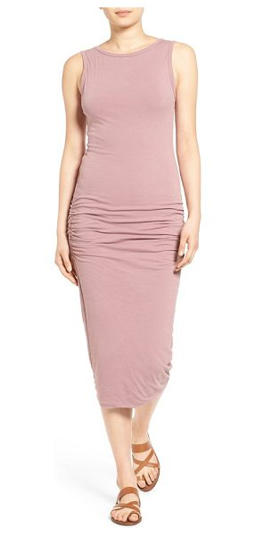 James Perse open back skinny maxi dress in wild rose - Fine shirring ripples the sexy, curve-sculpting...