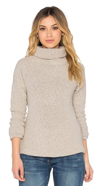 James Perse Raglan funnel neck sweatshirt in beige - Shell: 72% virgin wool 28% nylonContrast: 100% combed...