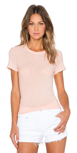 James Perse Sheer slub crew neck tee in peach - 100% cotton. Slub fabric. JAME-WS2280. WUA3037. James...