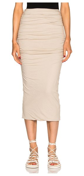 James Perse Shirred tube skirt in neutrals - 94% cotton 6% spandex.  Made in USA.  Elastic waist. ...
