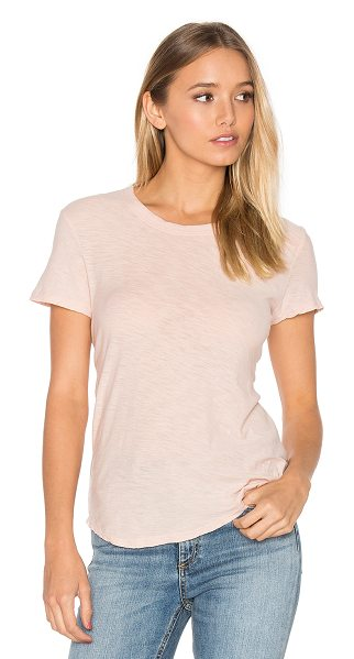 James Perse Slub Crew Neck Tee in pink - 100% cotton. Slub knit fabric. JAME-WS2459. WUA3037....