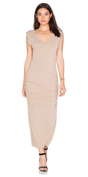 James Perse Twisted sleeve tube dress in tan - 94% cotton 6% spandex. Unlined. Ruched sides....