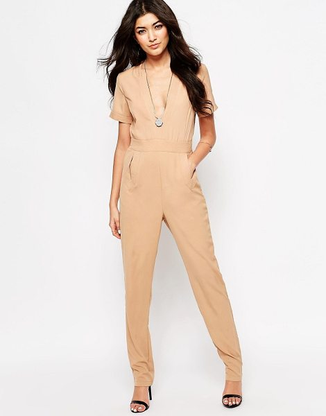 JAPONICA Japonica Jumpsuit with V-Neck in tan - Jumpsuit by Japonica, Unlined woven fabric, V-neckline,...