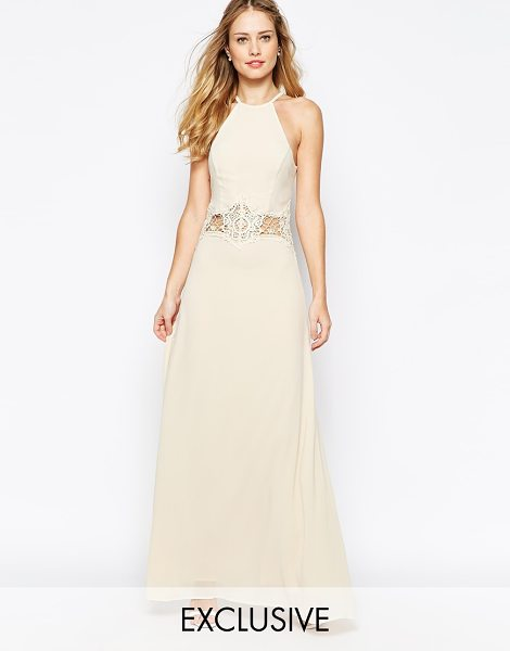 Jarlo Aden high neck maxi dress with lace insert in cream - Maxi dress by Jarlo, Lined chiffon, Sheer lace insert to...