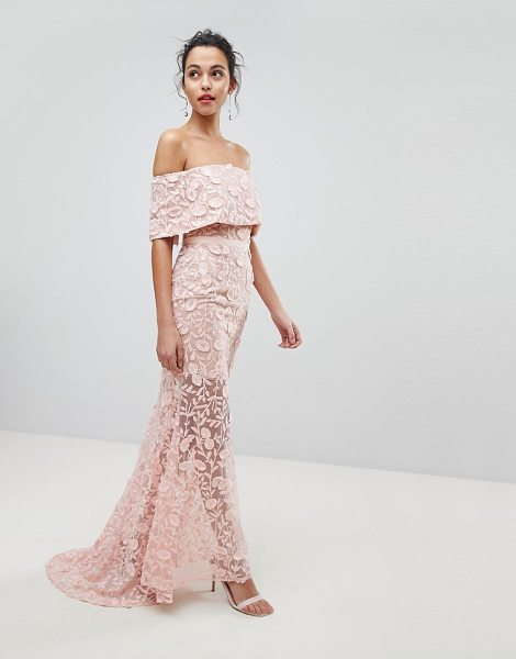 Jarlo all layered bardot all over embroidered lace maxi dress in nude - Dress by Jarlo, For that thing you RSVPd to, Bardot...