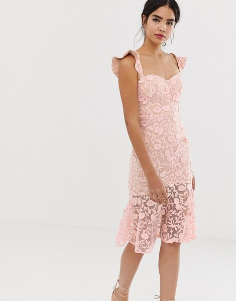 Jarlo all over lace embroidered midi dress with frilly off shoulder detail in pink in pink