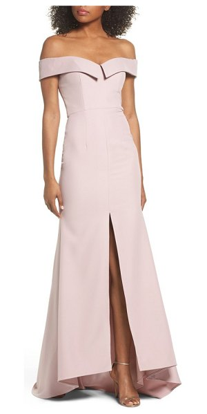 Jarlo autumn off the shoulder gown in blush - A fold-over drape graces the shoulder-baring neckline of...