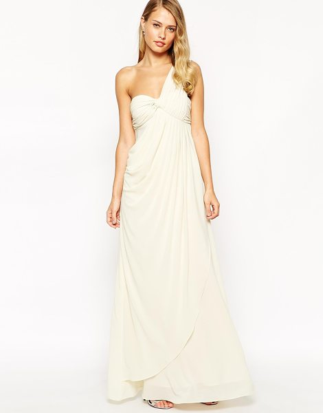 Jarlo Claudia Drape One Shoulder Maxi Dress in cream - Maxi dress by Jarlo, Lined chiffon, Ruched, draped...