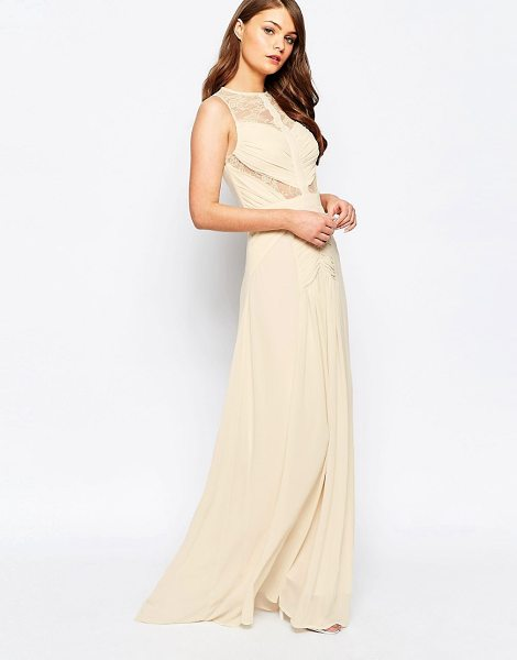 JARLO Delilah Maxi Dress with Lace Insert Detail - Maxi dress by Jarlo, Lined woven fabric, High neckline,...
