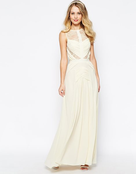 Jarlo Delilah maxi dress with ruched bodice & lace inserts in cream - Maxi dress by Jarlo, Lined chiffon, Sheer mesh lace...