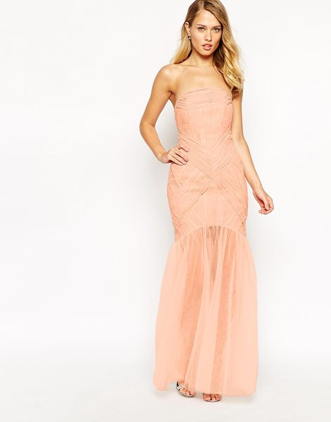 JARLO Felicity Bandeau Maxi Dress With Ruched Bodice And Tulle Skirt - - Dress by Jarlo, Ruched chiffon fabric, Bandeau design,...