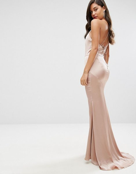 "JARLO High Neck Satin Maxi Dress with Lace Up Back - """"Maxi dress by Jarlo, Smooth woven fabric, High neck,..."