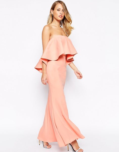 Jarlo Lily bandeau maxi dress with exaggerated frill in blush - Maxi dress by Jarlo Thick, soft fabric Fully lined...