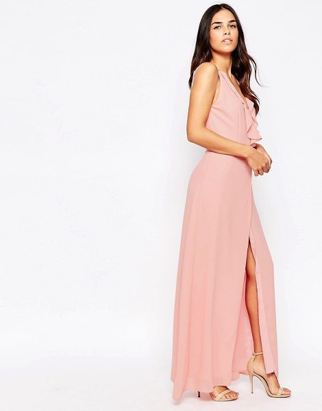Jarlo Maxi Dress With Frill Detail And Front Split in pink - Maxi dress by Jarlo, Mid-weight chiffon, Lined design,...