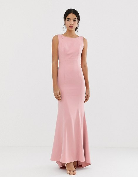 Jarlo maxi dress with lace open back and train in pink in pink