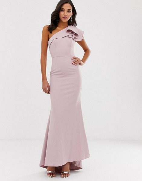 Jarlo one shoulder maxi dress with ruffle sleeve in pink in pink