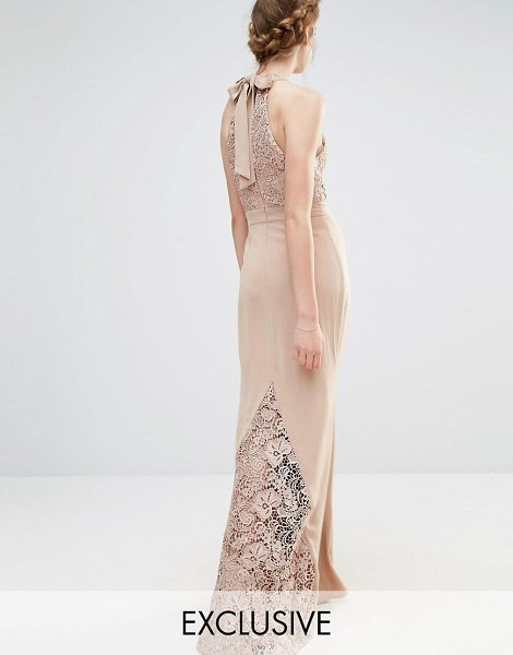 Jarlo Wedding High Neck Lace Maxi Dress with Bow Back in brown - Maxi dress by Jarlo, Lined lace bodice, High neckline,...