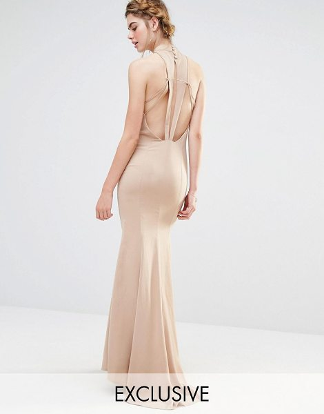 """JARLO Wedding High Neck Maxi Dress with Fishtail and Detailed Back - """"""""Maxi dress by Jarlo, Woven fabric, High neckline,..."""