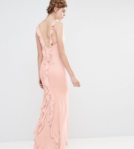 """Jarlo Wedding Maxi Dress with Fishtail and Ruffles at Back in pink - """"""""Maxi dress by Jarlo, Lightweight woven fabric, High..."""