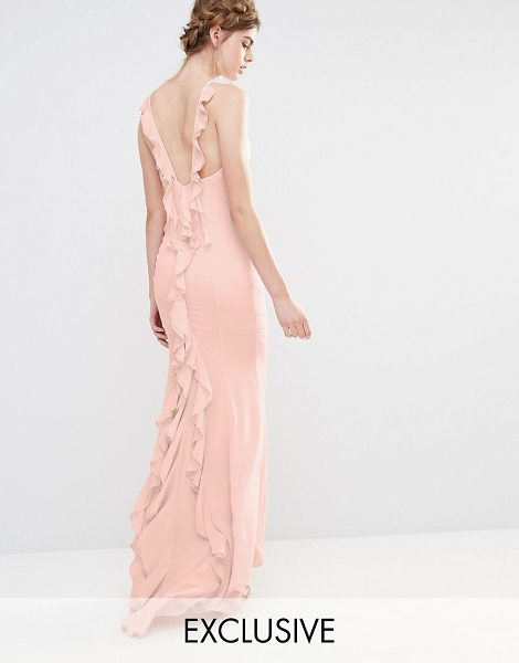 Jarlo Wedding Maxi Dress with Fishtail and Ruffles at Back in pink - Maxi dress by Jarlo, Lightweight woven fabric, High...
