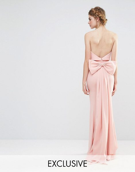 Jarlo Wedding Overlay Maxi Dress with Fishtail and Oversized Bow Back in pink - Maxi dress by Jarlo, Woven fabric, Bandeau neckline,...