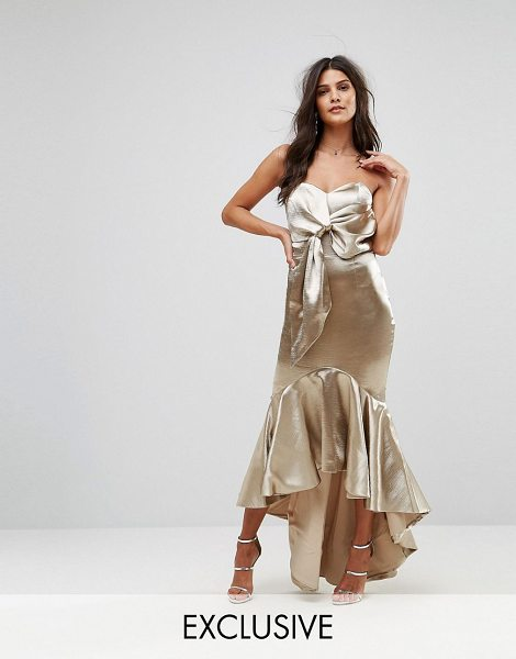 Jarlo wrap front bardot midi dress with fluted high low hem in goldmetallic