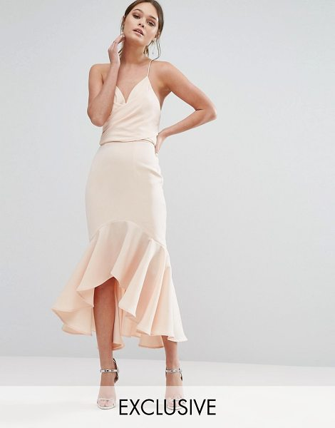 "Jarlo Wrap Front Midi Dress with Frill Hem in pink - """"Midi dress by Jarlo, Smooth woven fabric, Plunge neck,..."