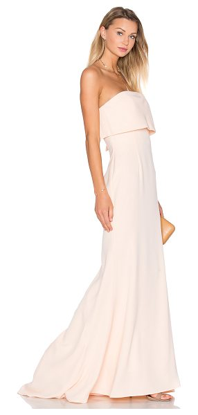 Jarlo x REVOLVE Blaze Gown in blush - 100% poly. Dry clean only. Fully lined. Back hidden...