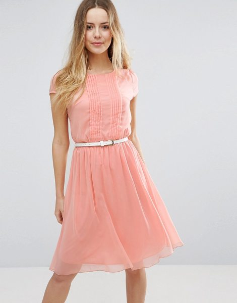 Jasmine Skater Dress With Pleat Detail Front in pink - Dress by Jasmine, Lined woven fabric, Round neck,...