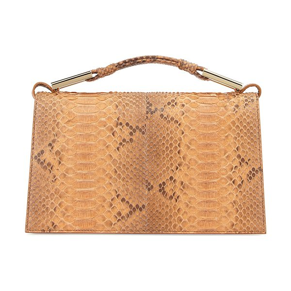 Jason Wu Charlotte Python Evening Clutch Bag in luggage - Jason Wu python and calf leather clutch bag. Golden...