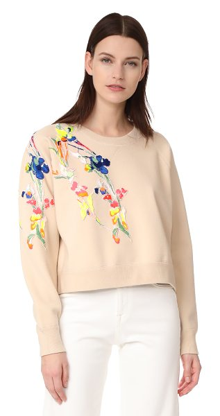 Jason Wu crew neck sweater in champagne - Asymmetrical floral appliqués add a splash of vibrant...
