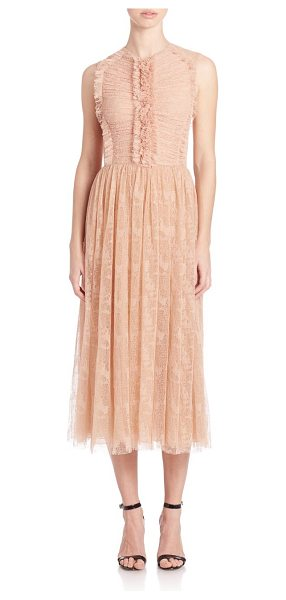 Jason Wu gathered lace dress in fawn - Sleeveless lace dress beautifully gathered at bodice....