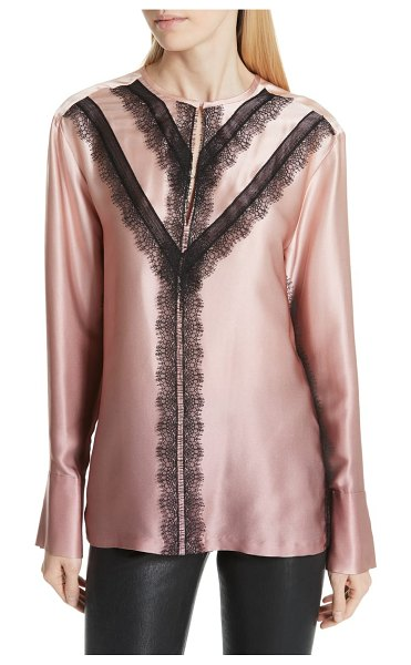 Jason Wu grey  ombre silk shirt in pink - Stripes of delicately scalloped lace add to the dreamy...