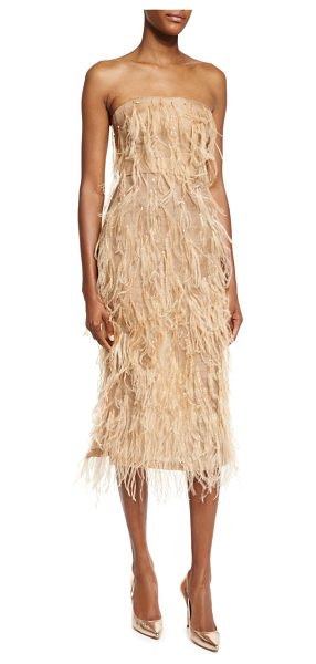 Jason Wu Ostrich-Feather Strapless Cocktail Dress in camel - Jason Wu organza dress with ostrich feathers. Straight,...