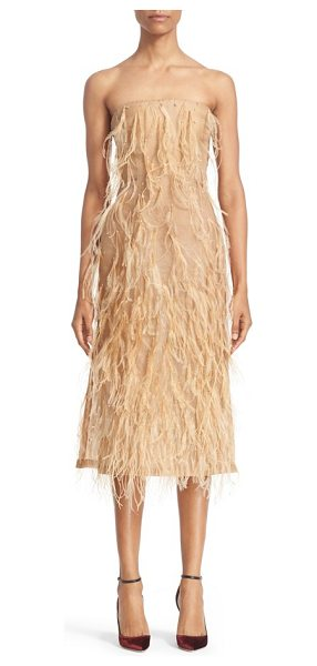 Jason Wu ostrich feather trim strapless dress in brown - Fashioned from airy silk organza and fluttering with...