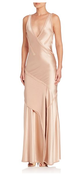 JASON WU satin sleeveless gown - Satin gown designed with a plunging V-neckline for added...