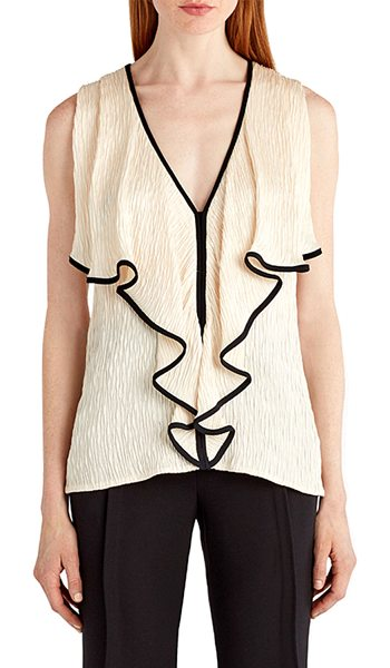 Jason Wu Sleeveless Tipped Cloque Top in cream - Jason Wu cloque top with contrast tipping. V neckline;...