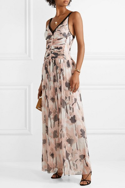 49f8f22a4c7 Jason Wu tulle-trimmed floral-print silk-crepon maxi dress in blush -