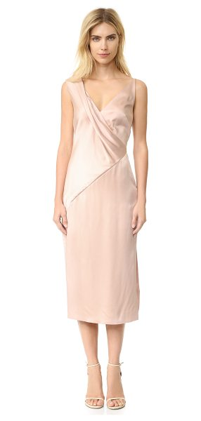 Jason Wu v neck cocktail dress in fawn - Angled seams and a draped bodice bring elegant asymmetry...