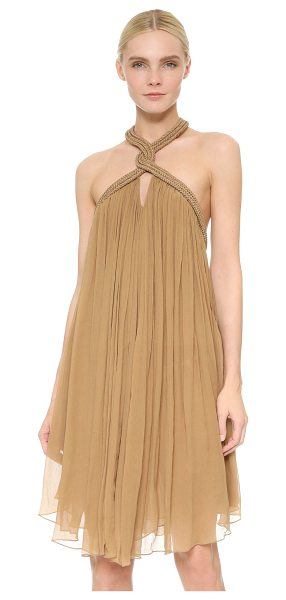 JAY AHR Sleeveless halter dress - Stiff braid lends a striking, structured element to this...