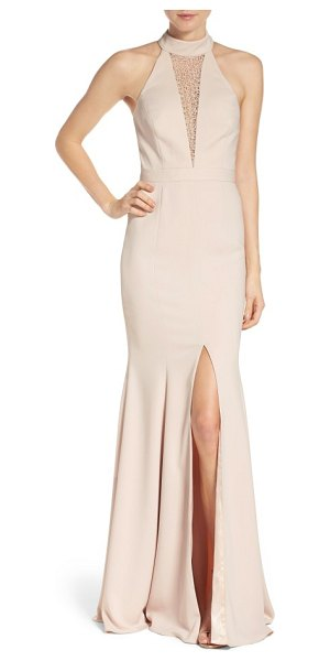 Jay Godfrey halter mermaid gown in sand - Lacy netting obscures the plunging neckline of this...
