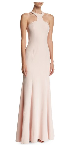 Jay Godfrey Mayall Open-Back Halter-Neck Gown in blush