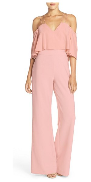 Jay Godfrey nix off the shoulder jumpsuit in blush - Skinny double straps suspend the flouncy...
