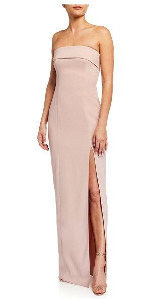 Jay Godfrey Oliver Strapless Column Gown w/ Slit in blush