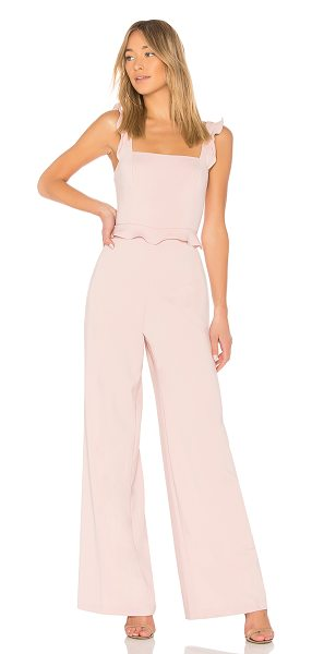 "Jay Godfrey Roy Jumpsuit in blush - ""Poly blend. Dry clean only. Ruffle trim. Hidden back..."