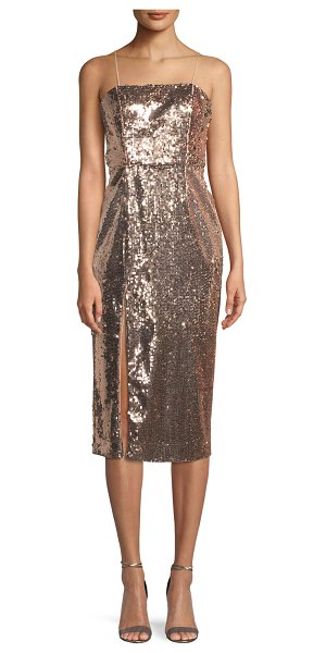 Jay Godfrey Sequin Slip Cocktail Midi Dress w/ Slit in rose gold
