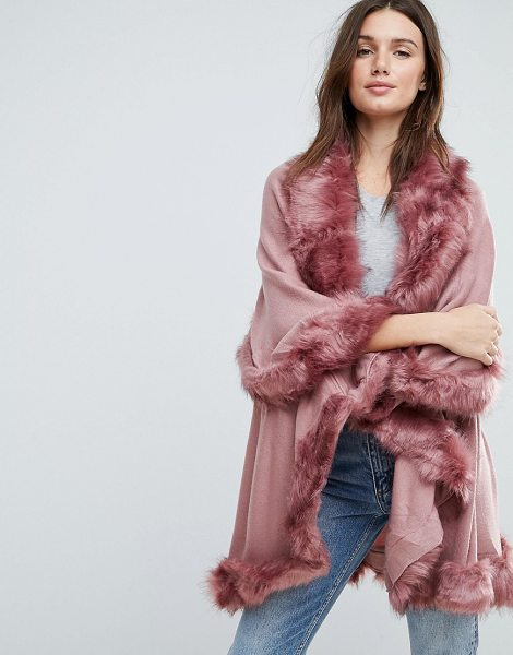 JAYLEY Faux Fur Trim Double Layer Wool Poncho in pink - Poncho by Jayley, Open front, Layered design, Faux-fur...
