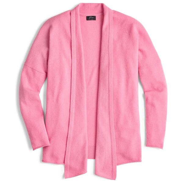 J.Crew open front cashmere cardigan in pink - This open-front sweater is made from supersoft,...